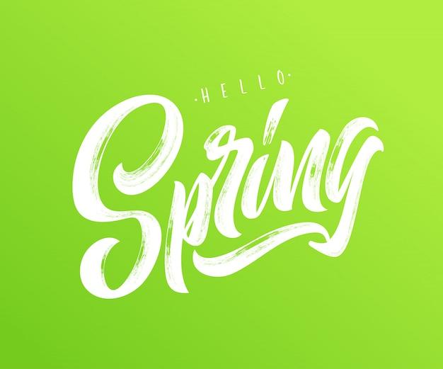 Olá tipografia primavera Vetor Premium
