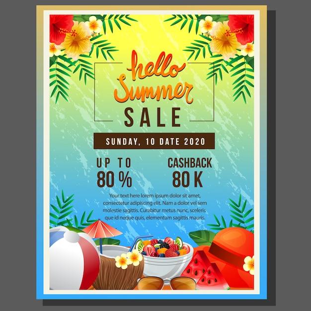 Olá venda de modelo de cartaz de verão com ilustração em vetor elemento verão colorido bebida de verão Vetor Premium