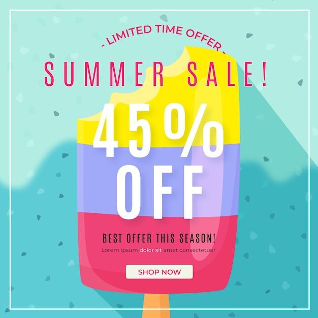 Olá venda de verão com picolé Vetor grátis