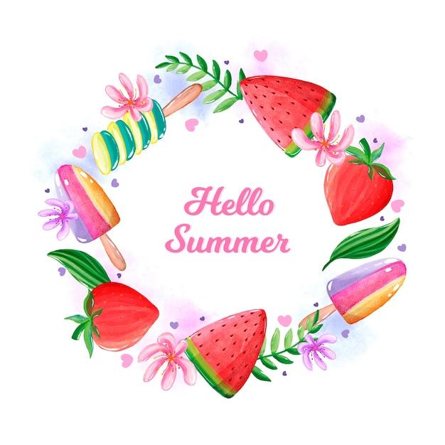 Olá verão aquarela com melancia Vetor Premium
