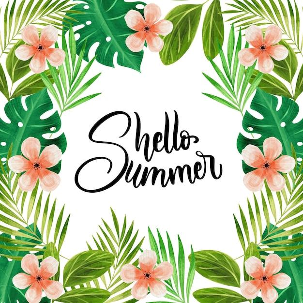 Olá verão aquarela rodeado de folhas e flores Vetor grátis
