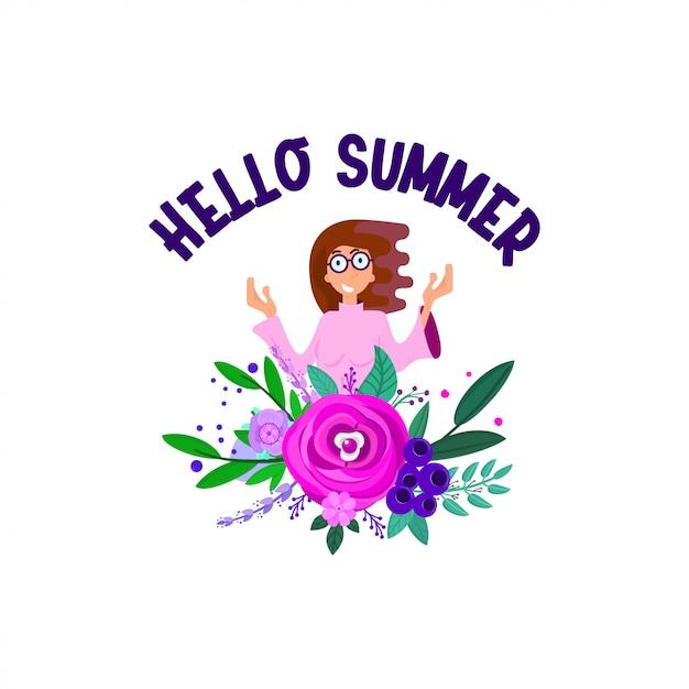 Olá verão com carácter e decorações florais, estilo simples. Vetor Premium