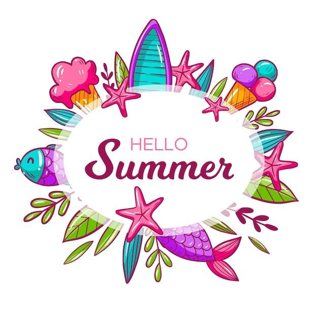 Olá verão com conchas e sorvete Vetor grátis