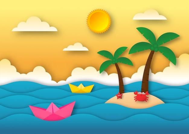 Olá verão com fundo de paisagem de praia. estilo de arte em papel. Vetor Premium