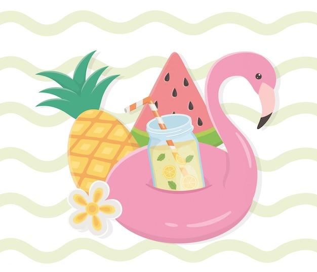 Olá verão com ícones de float flamengo Vetor Premium