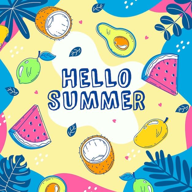 Olá verão com melancia e coco Vetor grátis