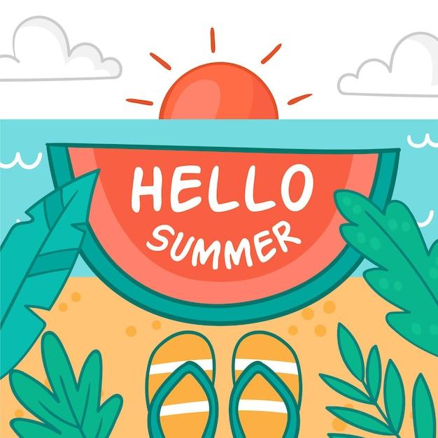 Olá verão com praia e chinelos Vetor grátis