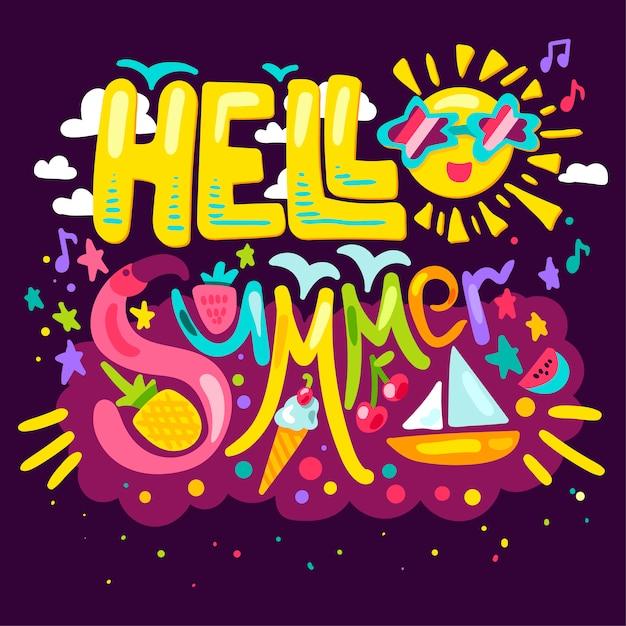 Olá verão concept Vetor Premium