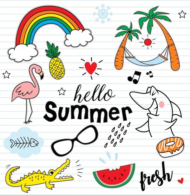 Olá verão conjunto de elementos coloridos Vetor Premium