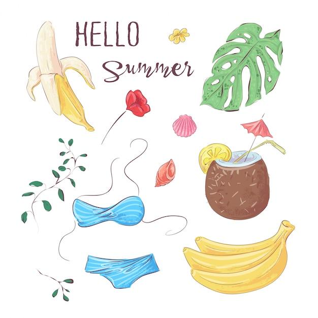 Olá verão. conjunto de frutas tropicais e elementos. vetorial, ilustração, mão, desenho Vetor Premium