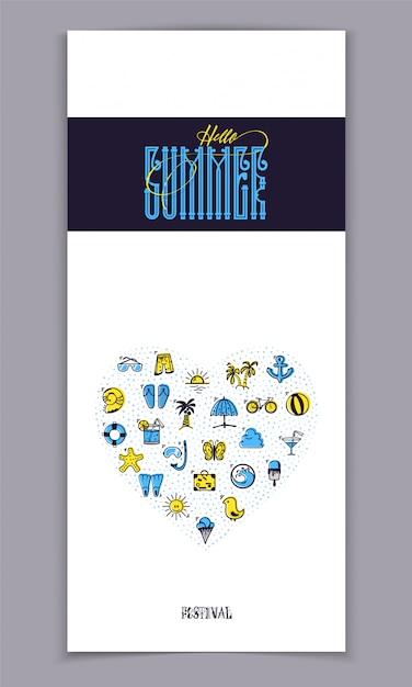 Olá verão e conjunto de ícones coloridos de verão Vetor Premium