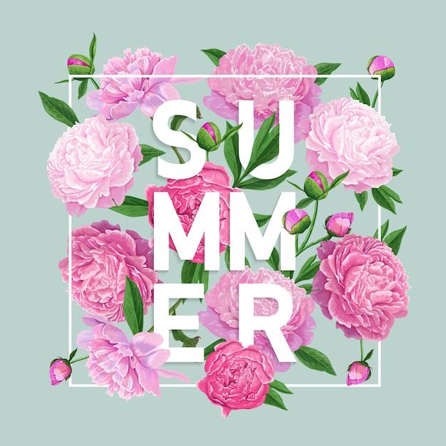 Olá verão floral design com flores de peônia Vetor Premium