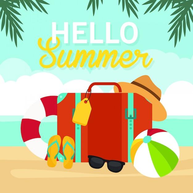 Olá verão, mala de viagem na ilustração de praia, tempo de viagem, vetor Vetor Premium