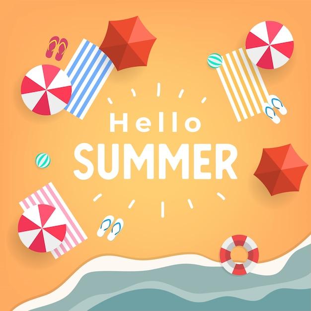 Olá verão praia tropical vista superior. Vetor Premium