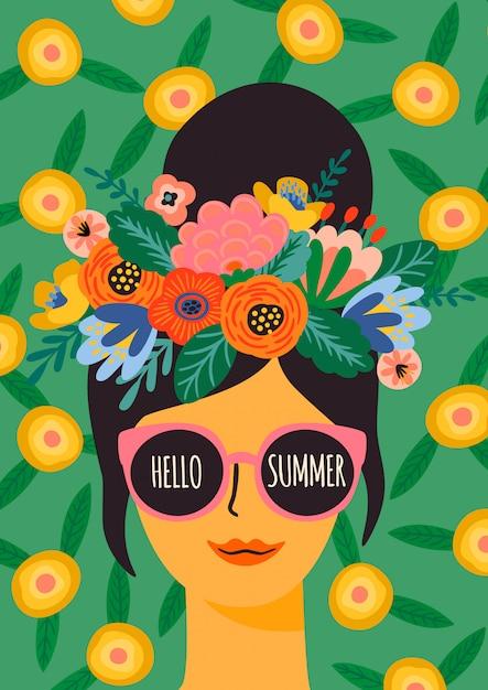 Olá verão. senhora bonita em copos com coroa de flores, cartaz. Vetor Premium