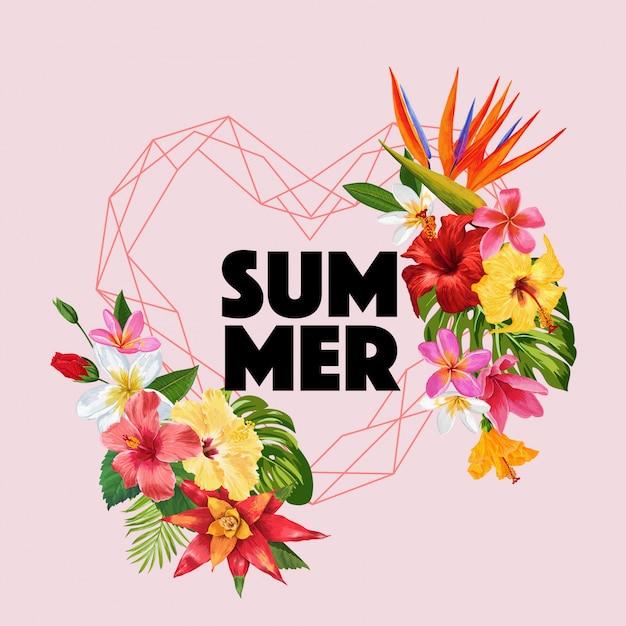 Olá verão tropic design flowers Vetor Premium