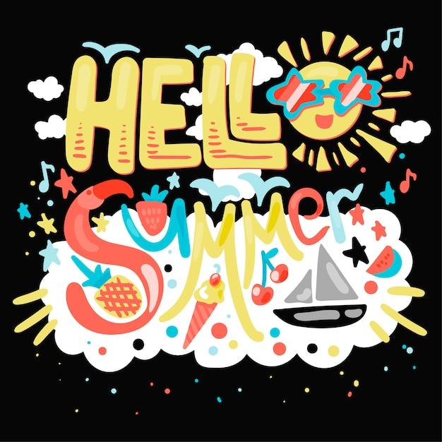 Olá verão tropical Vetor Premium