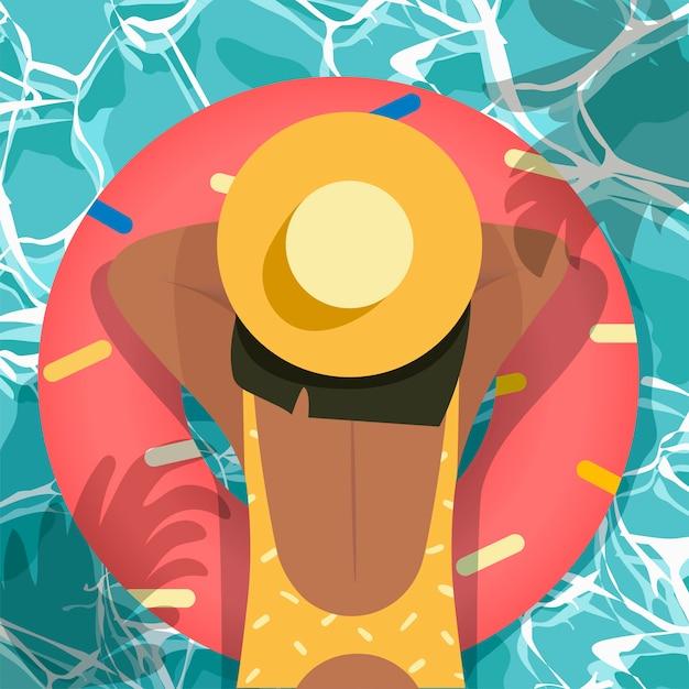 Olá verão, vista superior, fundo de praia Vetor Premium