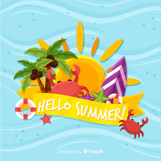 Olá verão Vetor grátis