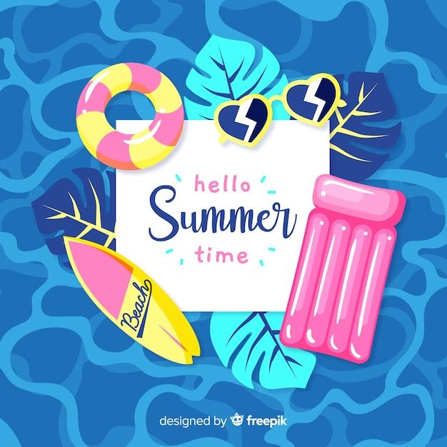 Olá verão Vetor Premium