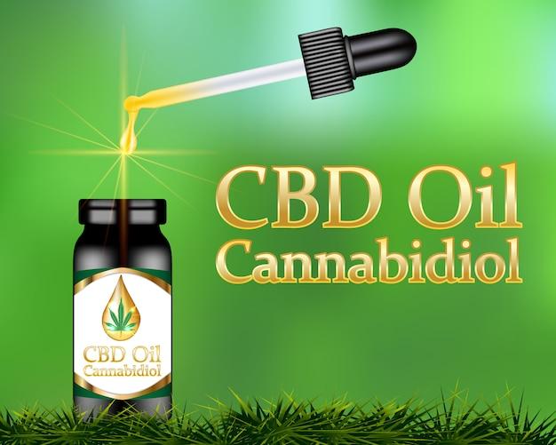 Óleo de cbd cannabidiol product Vetor Premium