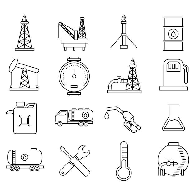 Óleo e energia recursos ícones vector icônico design Vetor Premium