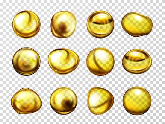 Óleo vegetal, lubrificante de motor ou mel várias formas cai com reflexos de luz Vetor grátis