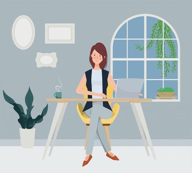 Olhar do estilo livre da mulher de negócio que trabalha perto da janela. estilo de caráter de mão desenhada. Vetor Premium