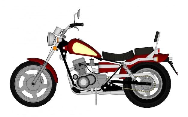 Olhar pequeno helicóptero clássico vermelho. ilustração com linhas de contorno. Vetor Premium