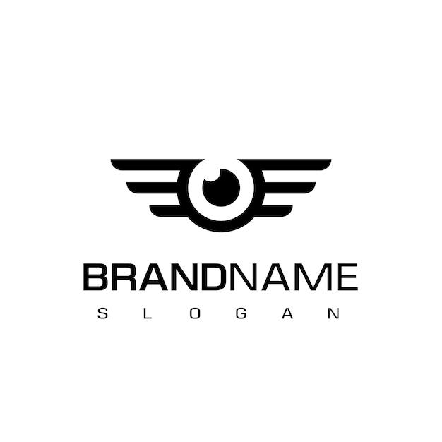 Olho com símbolo de asas, projeto para zangão ou logotipo de fotografia aérea Vetor Premium