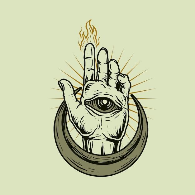Olho da mão Vetor Premium