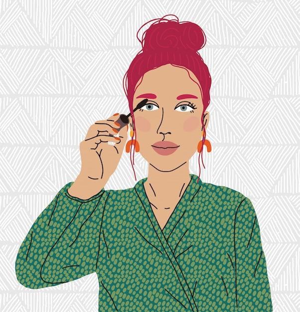Olho de tinta de mulher bonita. maquiagem, blogueiro de maquiagem. Vetor Premium