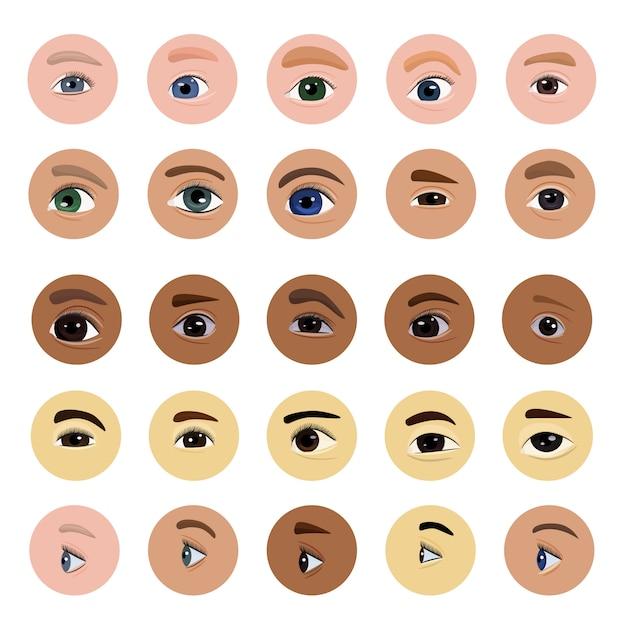 Olho humano visão visão beleza feminino vista das sobrancelhas cílios e pálpebra ilustração conjunto óptico de belos olhos com olho saudável íris olho ocular isolado no fundo branco Vetor Premium