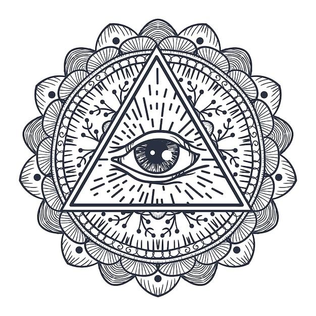 Olho que tudo vê em triângulo e mandala. símbolo mágico da providência para impressão, tatuagem, livro para colorir, tecido, camiseta, pano no estilo boho. astrologia, oculto, tribal, esotérico, signo de alquimia. Vetor Premium