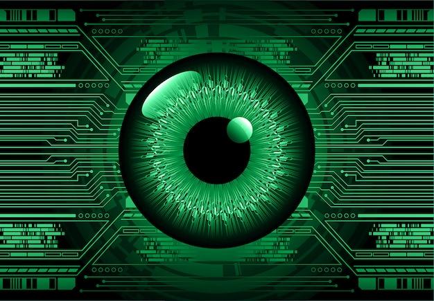 Olho verde cyber circuito futuro tecnologia conceito fundo Vetor Premium