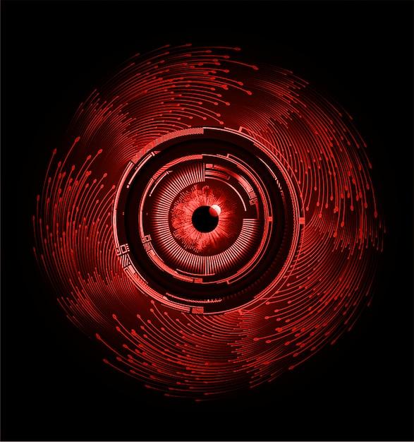 Olho vermelho cyber circuito futuro tecnologia conceito fundo Vetor Premium