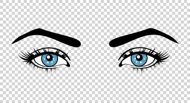 Olhos azuis femininos de vetor Vetor Premium