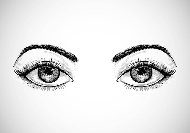 Olhos bonitos desenhados à mão Vetor grátis