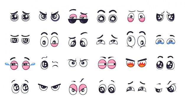 Olhos de desenho animado. olhos de expressão engraçada em quadrinhos com várias emoções, olhos chorando, rindo, conjunto de ilustração de olhos piscando com raiva e bonito. elementos de mão desenhada, olhares emocionais, pontos turísticos Vetor Premium