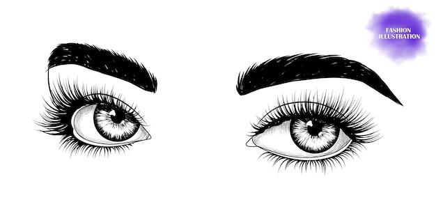 Olhos desenhados à mão em preto e branco Vetor Premium