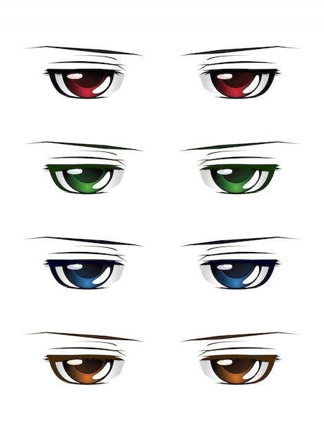 Olhos masculinos coloridos Vetor Premium