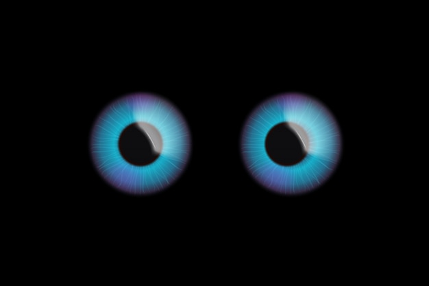 Olhos no escuro Vetor Premium