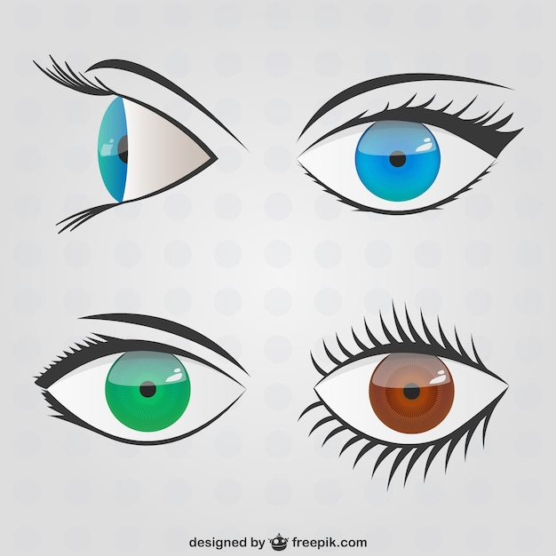 Olhos rabiscos embalar Vetor grátis