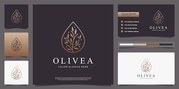 Oliveira dourada e logotipo de luxo de gota d'água e cartões de visita Vetor Premium