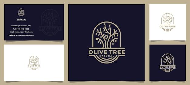 Oliveira incrível, design de logotipo de azeite e cartão de visita Vetor Premium