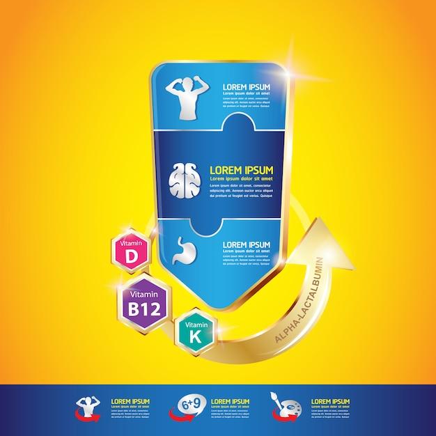 Omega vitamin and nutrients for kids conceito de vetor Vetor Premium