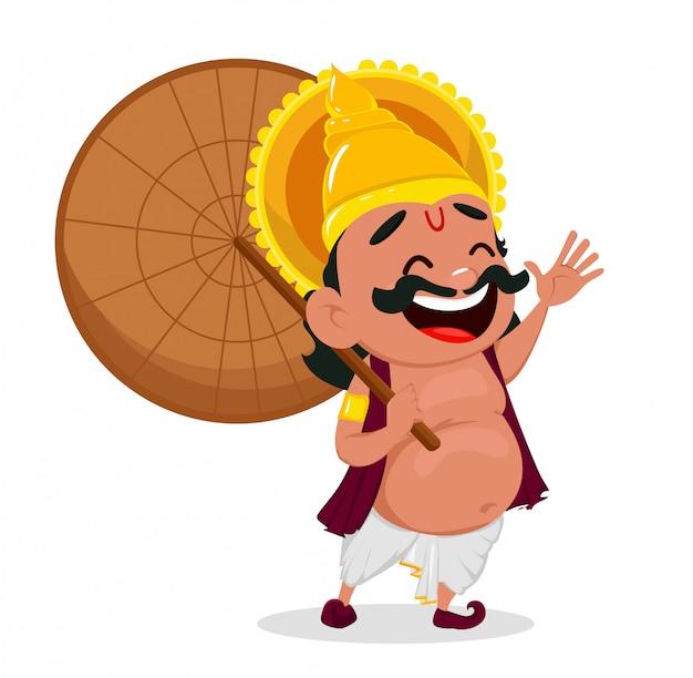 Onam celebração. rei mahabali segurando guarda-chuva Vetor Premium