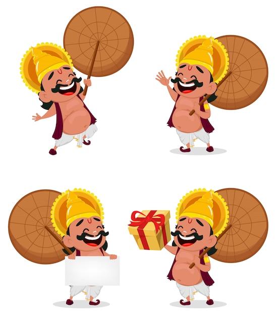 Onam celebração. rei mahabali Vetor Premium