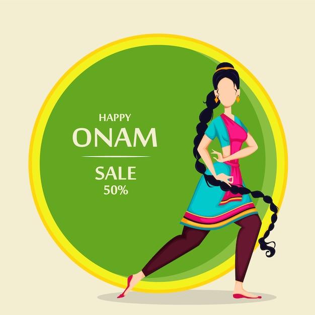 Onam feliz, mulher indiana dançando Vetor Premium