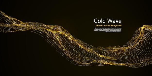 Onda abstrata listrada do ouro no fundo escuro. linhas onduladas piscar douradas na ilustração do vetor da escuridão. efeito de ouro ondulado brilho vibrante Vetor Premium